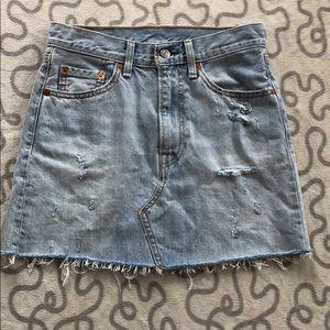 Levi's Light Wash Distressed Raw Hem Denim Skirt